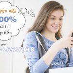 Vietnamobile khuyến mãi tăng 300% thẻ nạp ngày 24 và 25/2/2018