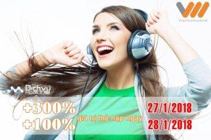 Vietnamobile khuyến mãi thẻ nạp ngày 27 - 28/1/2018