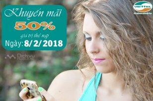 Viettel khuyến mãi 50% mệnh giá thẻ nạp ngày vàng 8/2/2018