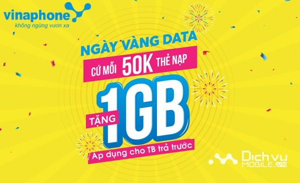 Vinaphone khuyến mãi nạp thẻ tặng data trong ngày 9/3/2018