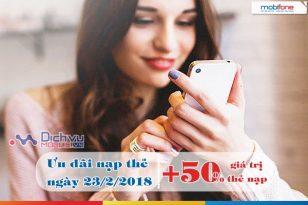 Mobifone khuyến mãi 50% thẻ nạp ngày 23/2/2018