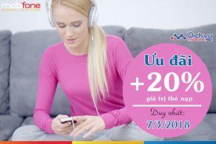 Mobifone khuyến mãi 20% thẻ nạp ngày 7/3/2018