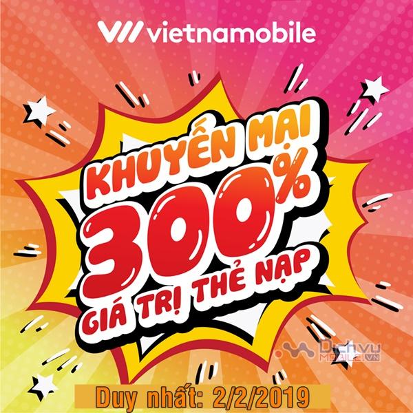 Vietnamobile khuyến mãi tăng 300% thẻ nạp ngày 2/2/2019
