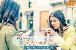 Vietnamobile khuyến mãi 300% thẻ nạp ngày 13-14/2/2018