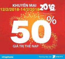 SOCK: Vinaphone khuyến mãi 50% thẻ nạp 3 ngày liên tiếp từ 12/2/2018 đến 14/2/2018