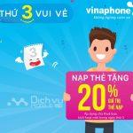 VinaPhone khuyến mãi tặng 20% thẻ nạp thứ 3 vui vẻ ngày 6/3/2018