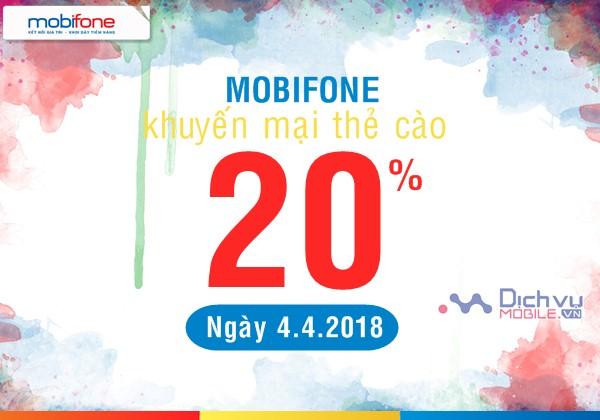 Mobifone khuyến mãi 20% giá trị thẻ nạp ngày vàng 4/4/2018