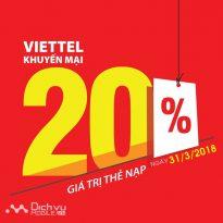 Viettel khuyến mãi tặng 20% giá trị thẻ nạp ngày vàng 31/3/2018