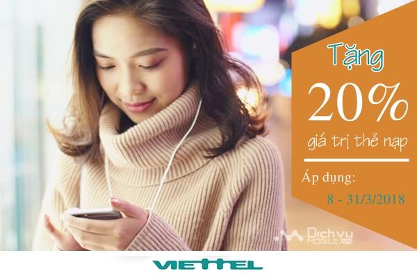 Viettel khuyến mãi 20% thẻ nạp từ 8/3 đến 31/3/2018