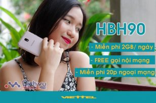 Gói cước HBH90 mạng Viettel nhận Combo 2GB/ ngày miễn phí thoại chỉ 90,000đ