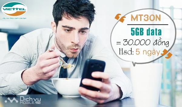 Đăng ký gói cước MT30N mạng Viettel