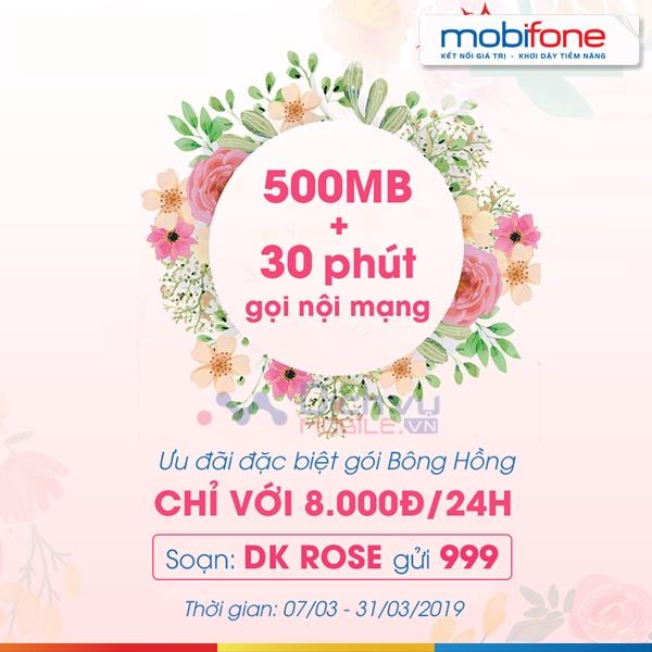 Đăng ký gói Bông hồng Mobifone tặng 500MB và 30 phút thoại chỉ 8000đ 1 ngày