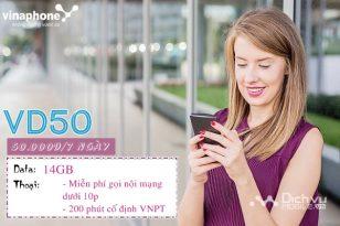 Hướng dẫn đăng ký gói cước VD50 Vinaphone ưu đãi gọi và 14GB data tuần