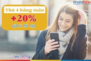 Mobifone khuyến mãi 20% thẻ nạp thứ 4 hằng tuần