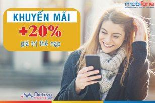 Mobifone khuyến mãi tặng 20% giá trị thẻ nạp ngày 12/5/2018