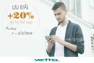 Viettel tặng 20% thẻ nạp từ ngày 1 - 3/3/2018