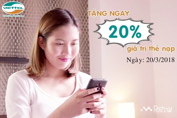 Viettel khuyến mãi 20% thẻ nạp ngày 20/3/2018