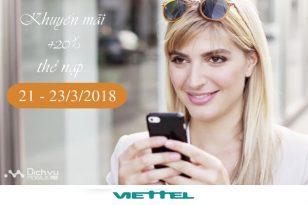 Viettel khuyến mãi 20% thẻ nạp từ ngày 21 – 23/3/2018