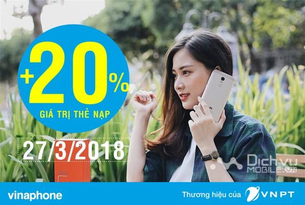 Vinaphone khuyến mãi 20% giá trị thẻ nạp ngày vàng 27/3/2018