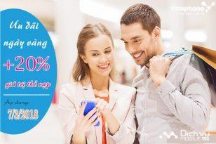 Vinaphone khuyến mãi 20% thẻ nạp ngày 7/3/2018