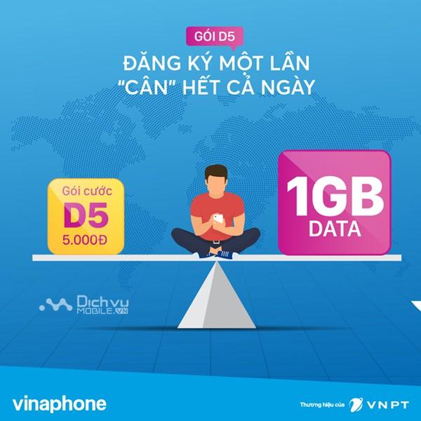 Đăng ký gói D5 Vinaphone nhận 1GB chỉ 5000đ lướt web xả láng