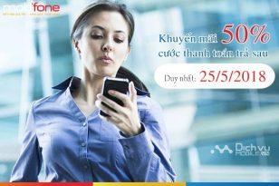 Mobifone khuyến mãi 50% cước thanh toán trả sau ngày 25/5/2018