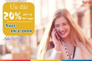 Mobifone khuyến mãi 20% thẻ nạp ngày vàng 18/4/2018