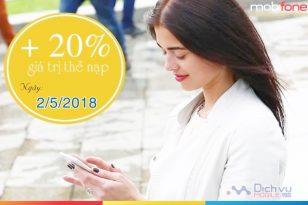Mobifone khuyến mãi 20% thẻ nạp ngày vàng 2/5/2018