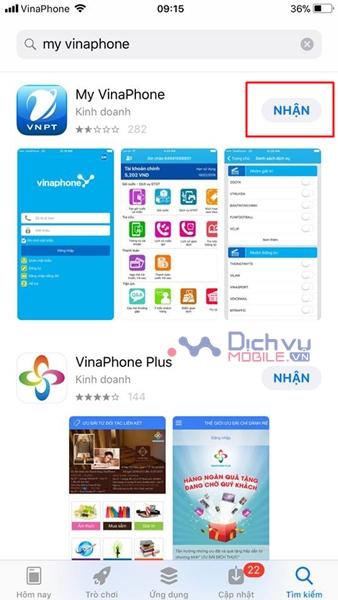 Hướng dẫn cách tải và cài đặt ứng dụng My Vinaphone bước 1