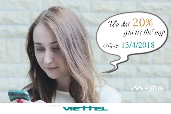 Viettel khuyến mãi 20% thẻ nạp ngày 13/4/2018