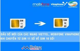Chi tiết đầu số mới của Viettel, Mobifone, Vinaphone khi chuyển sim 11 số về 10 số
