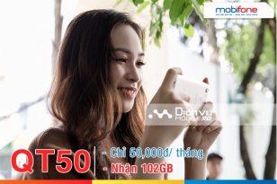 Hưởng ưu đãi đến 102GB data khi đăng ký gói QT50 Mobifone thành công