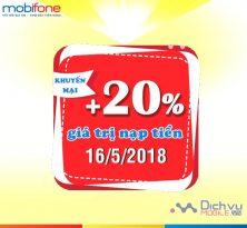 Mobifone khuyến mãi tặng 20% thẻ nạp ngày vàng toàn quốc 12/5/2018