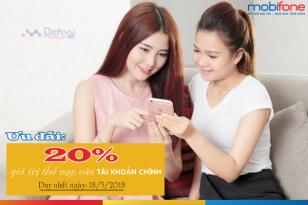 Mobifone khuyến mãi 20% thẻ nạp ngày 18/5/2018