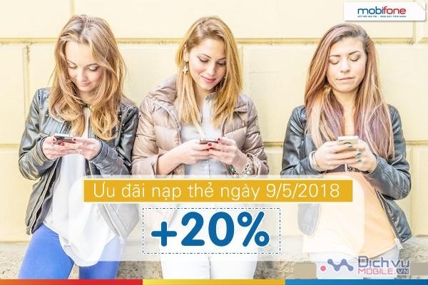Mobifone khuyến mãi 20% thẻ nạp toàn quốc ngày 9/5/2018