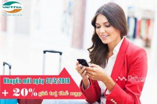 Viettel khuyến mãi 20% thẻ nạp ngày vàng 31/5/2018