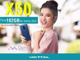 Đăng ký gói X50 Viettel nhận ngay 102GB / tháng chỉ 50,000đ