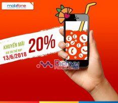 Mobifone khuyến mãi tặng 20% giá trị thẻ nạp ngày 13/6/2018