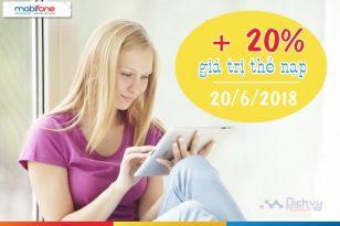 Mobifone khuyến mãi tặng 20% thẻ nạp ngày 20/6/2018