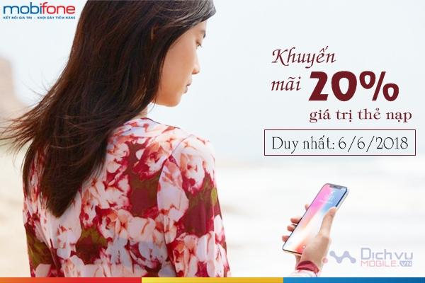 Mobifone khuyến mãi 20% thẻ nạp toàn quốc ngày 6/6/2018