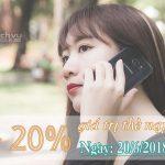 Viettel khuyến mãi 20% giá trị thẻ ngày 20/6/2018