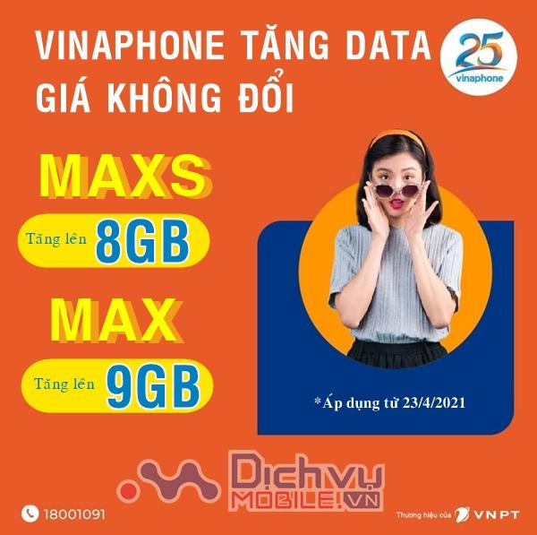 SIÊU HOT: Vinaphone nâng gấp 3 ưu đãi gói MAXS, MAX lên 8GB và 9GB/ tháng