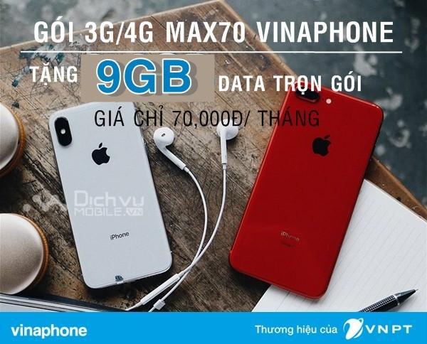 Cách đăng ký gói MAX70 Vinaphone nhận đến 9GB data chỉ 70,000đ tháng