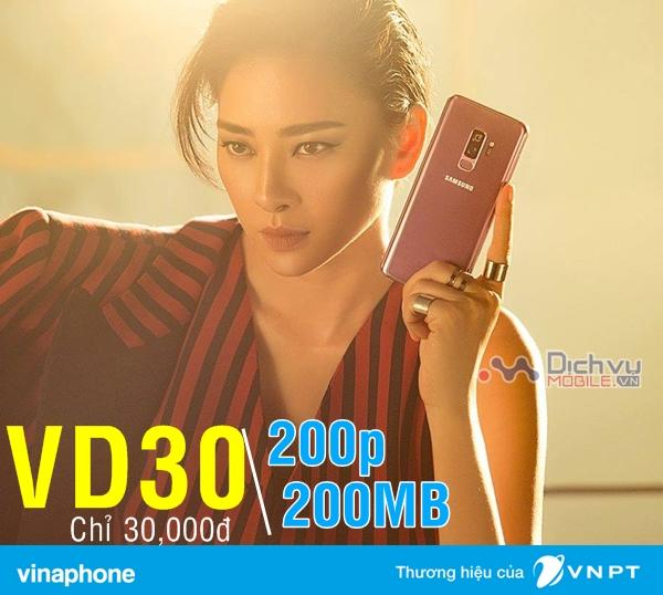 Đăng ký gói VD30 Vinaphone nhận ngay 200 phút gọi và 200MB chỉ 30,000đ