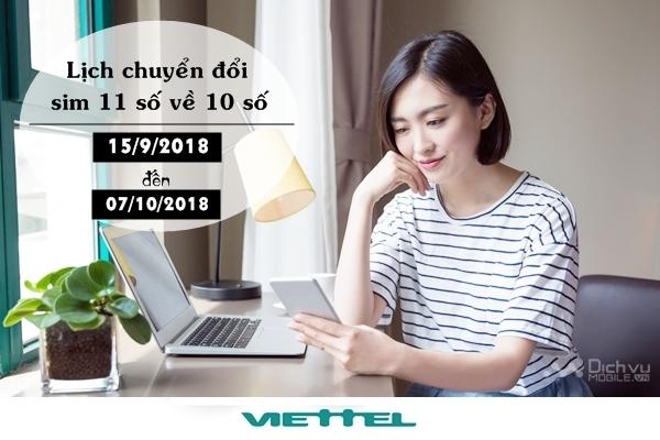 Lịch chuyển đổi từ sim 11 số sang 10 số mạng Viettel