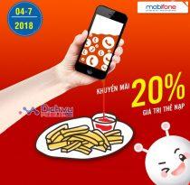 Mobifone khuyến mãi tặng 20% giá trị thẻ nạp ngày vàng 4/7/2018