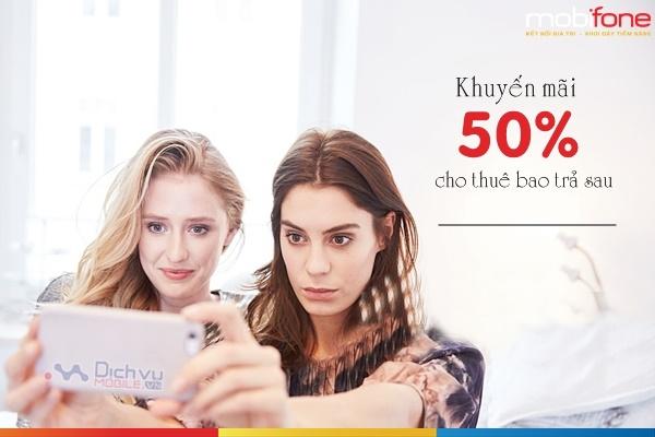Mobifone khuyến mãi 50% giá trị thanh toán cước trả sau ngày 25/8/2018