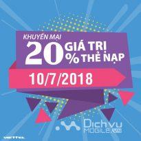 Viettel khuyến mãi 20% giá trị thẻ nạp ngày 10/7/2018