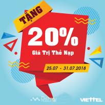 Viettel khuyến mãi 20% thẻ nạp 3 lần nạp thẻ đầu tiên cho thuê bao chuẩn hóa thông tin theo Nghị định 49