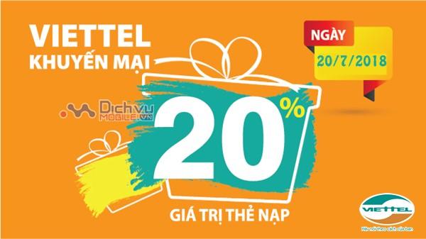 Viettel khuyến mãi tặng 20% giá trị thẻ nạp ngày 20/7/2018